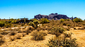 Lost Dutchman State Park with Superstition Mountain Royalty Free Stock Photo