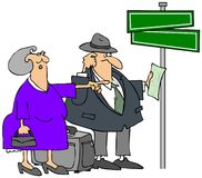 Lost Elderly Couple. This illustration depicts an elderly man and woman who are lost and standing by a street sign Stock Photography