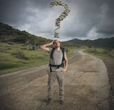 Lost explorer in mountain path Royalty Free Stock Images