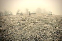 Lost in fog Stock Photo