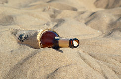 Lost and found. Horizontal image of a sand in a bottle Royalty Free Stock Image