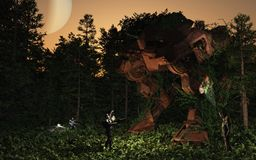 Lost and found - battle droid in the forest. 3d Digitally rendered science fiction illustration of three colonial space marine rangers discovering a huge ancient Royalty Free Stock Images