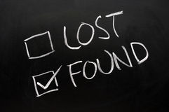 Lost and found check boxes Royalty Free Stock Photos