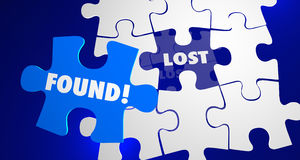 Lost and Found Puzzle Piece Locate Misplaced. 3d Illustration Royalty Free Stock Photo