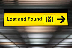 Lost and Found sign at the Airport.  Royalty Free Stock Photos