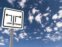 Lost Found Traffic Sign in the Clouds Royalty Free Stock Photography