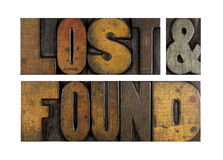 Lost and Found. The words LOST & FOUND written in vintage letterpress type royalty free stock images