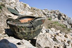 Lost german military helmet Stock Photos