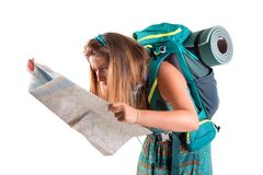 Lost girl with backpack and map stock photos