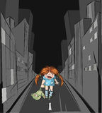 Lost girl in the big city Royalty Free Stock Photo