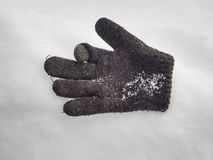 Lost glove on the snow Royalty Free Stock Image