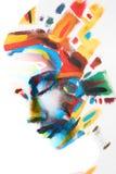 Lost het hand geschilderde portret van een vrouw in borstelslagen op Stock Foto