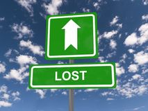 Lost highway sign and arrow Stock Image
