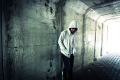 Lost. Homeless person on the street ,Stranger person in tunnel Royalty Free Stock Images