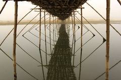 The lost horizon. This is a bamboo bridge on the river Damodar Stock Images