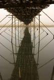 The lost horizon. This is a bamboo bridge on the river Damodar Stock Photos