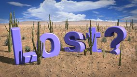Lost in the hot desert concept Stock Photo