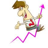 Happy Salesman Riding an Arrow on a Graph Stock Images
