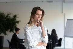 Free Lost In Thoughts Businesswoman Feels Concerned Thinking Of New Challenges Stock Image - 171246701