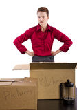 Lost Items. Young woman stressed out or angry because of lost or missing items Stock Photos