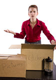 Lost Items. Young woman stressed out or angry because of lost or missing items Stock Photography