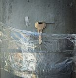 Lost Keys Taped To Pole Royalty Free Stock Photography