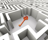 Lost Key In Maze Shows Security Solution. Puzzle vector illustration