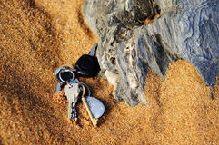 Lost keys in the sand Royalty Free Stock Photography