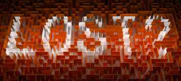 Lost labyrinth. Concept of Lost in a orangeMaze or Labyrinth. Lost text in white Royalty Free Stock Photo