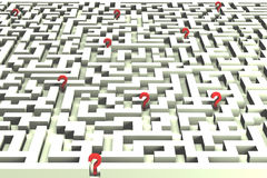 Lost in the labyrinth of decisions - 3D image. Questions marks lost in a maze, expressing difficult decisions and business risks - a 3D image stock illustration