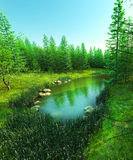 Lost lake in the forest royalty free illustration