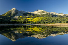 Lost Lake Slough Reflection. East Beckwith Mountains reflected in Lost Lake Slough on a clear blue sky colorado morning Stock Photo