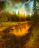 Lost lake in the storm Royalty Free Stock Photos