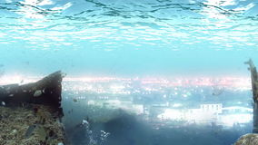 Lost living glowing civilization under the ocean. Lost living glowing civilization under great waves of the ocean royalty free illustration