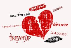 Lost love. And lovesickness, super grungy, vector illustration Stock Photography
