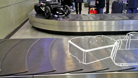 Lost luggage. On the conveyor belt is moving animated baggage stock footage