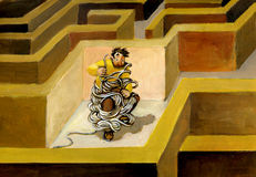 Lost. A man lost in a maze because it has made a mess with the thread of Arianna royalty free illustration