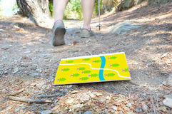 Lost the map. Hiker who lost the map on the road Royalty Free Stock Images