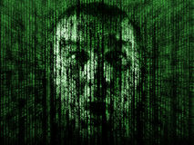 Lost in the matrix. Abstract computer generated background of matrix style with male suprise face royalty free illustration