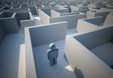 Lost in maze. Icon people lost in maze - 3d render vector illustration