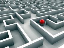 Lost in maze. Red sphere lost in maze - 3d render royalty free illustration