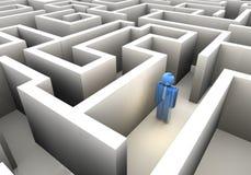 Lost in maze. Businessman icon lost in maze - 3d render vector illustration
