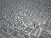 Lost in maze. Icon of a man lost in a huge maze - 3d render vector illustration