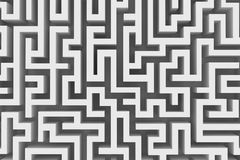Lost in a maze. Abstract grey maze seen from above stock illustration
