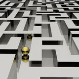 Lost in a maze. Golden sphere in an abstract maze Stock Image