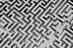 Lost in a maze. Abstract grey maze seen from above Stock Photography