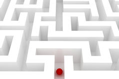 Lost in a maze. Red sphere in an abstract maze royalty free illustration