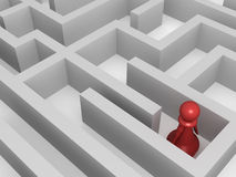 Lost in the maze. Three dimensional render of a red pawn lost in a maze. Concept for solution royalty free illustration