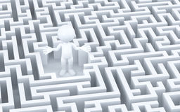 Lost in maze. 3d illustration Royalty Free Stock Photo