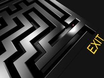 Lost in maze looking for exi. T 3d rendered illustration royalty free illustration